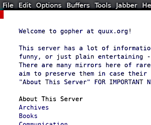 Screenshot of gopher.el in action