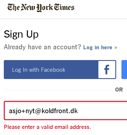 nytimes.com says a valid email address is invalid